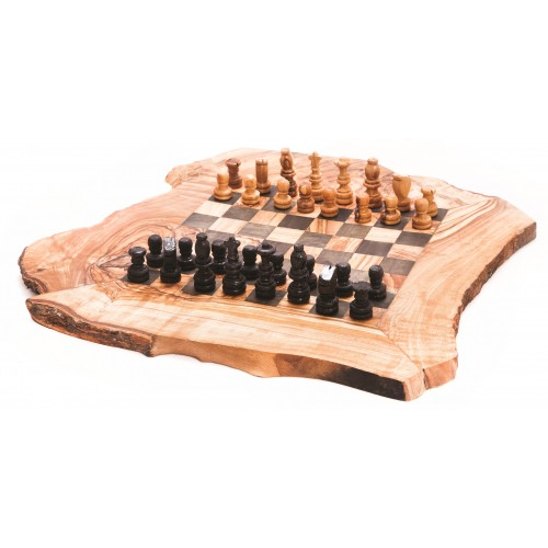 Chess board game handmade from olive wood