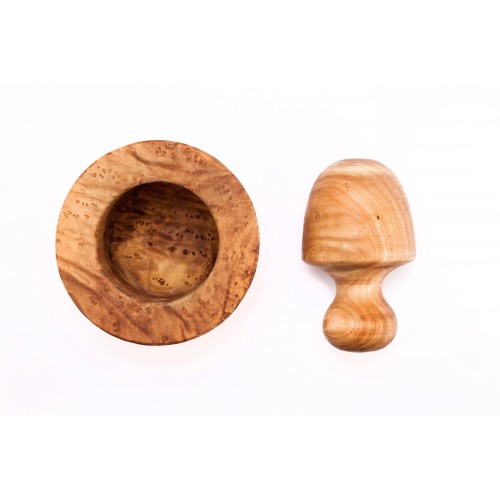 Mortar with wide pestle from olive wood