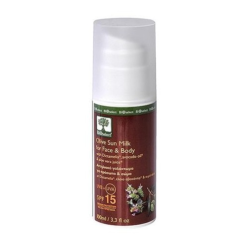 Olive Sun Milk for Face and Body SPF15 Bioselect Organic 100ml