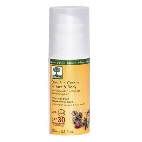 Olive Sun Cream for Face and Body, High Protection SPF30 Bioselect Organic 100ml